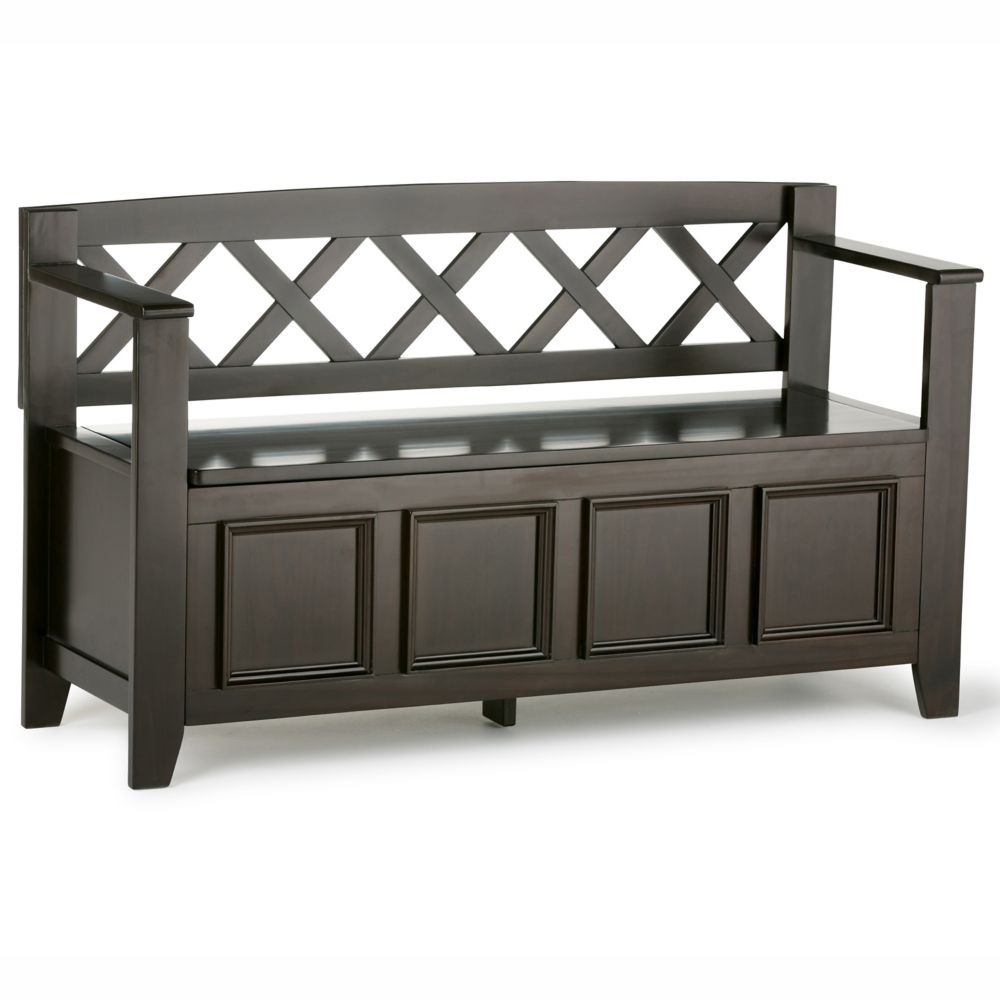 Amherst Collection Dark American Brown Entryway Storage Bench