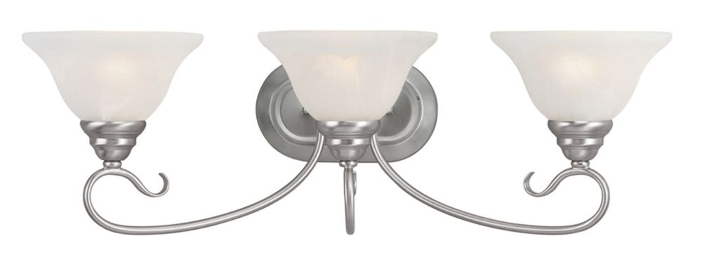 Illumine Providence 3-Light Brushed Nickel Bath Vanity with White Alabaster Glass