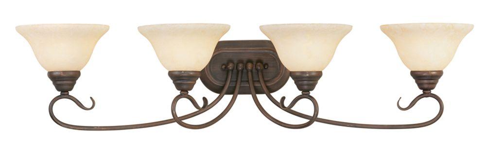 Providence 4 Light Bronze Incandescent Bath Vanity with Vintage Scavo Glass
