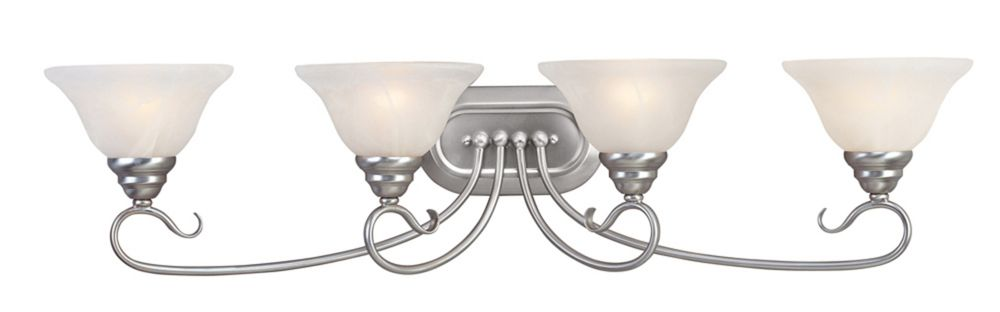 Providence 4 Light Brushed Nickel Incandescent Bath Vanity with White Alabaster Glass