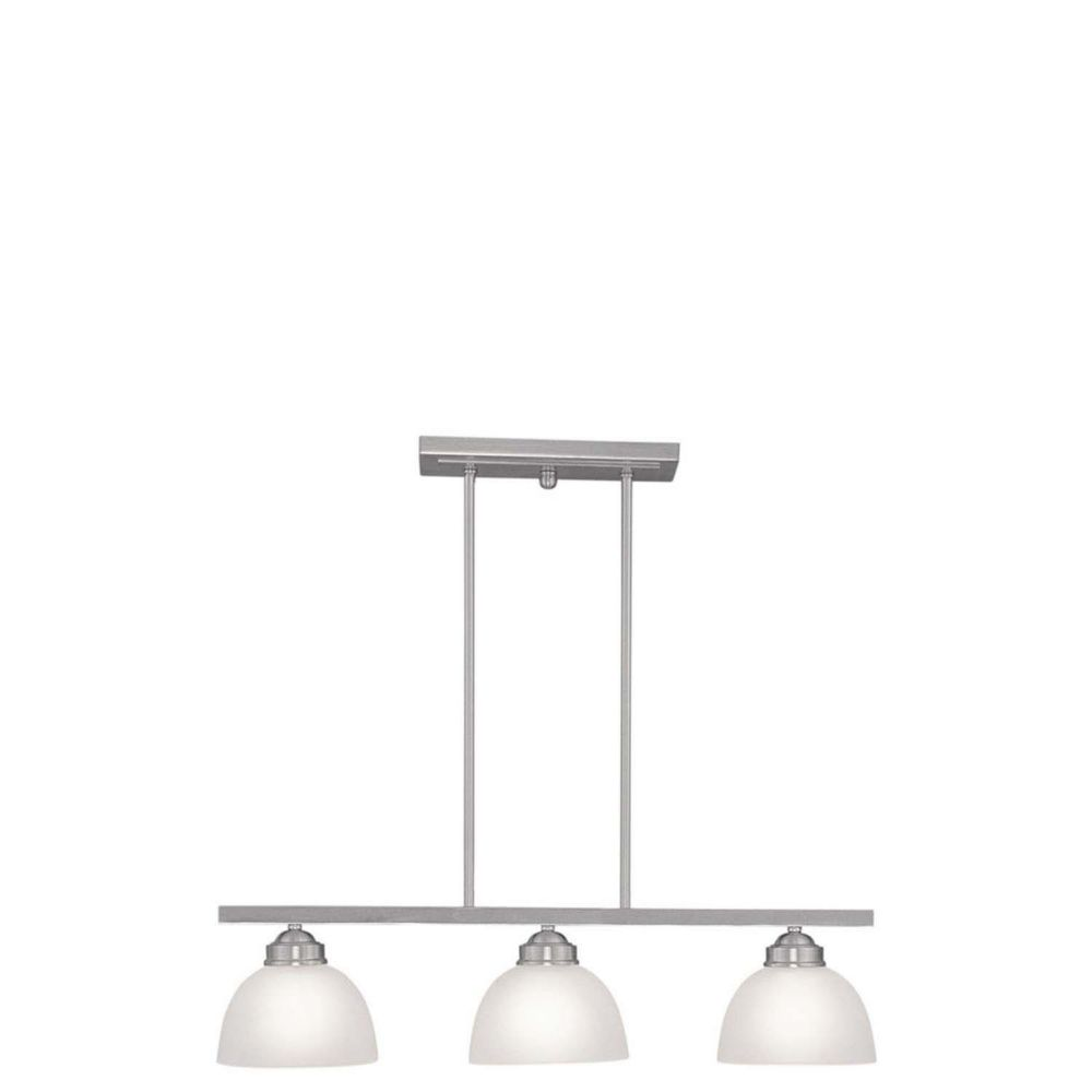 Providence 3-Light Brushed Nickel Island-Light with Satin Glass