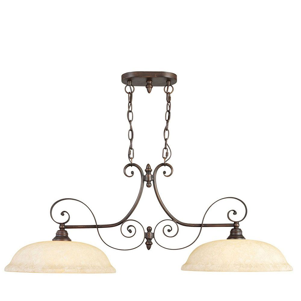 Providence 2-Light Bronze Island-Light with Vintage Scavo Glass