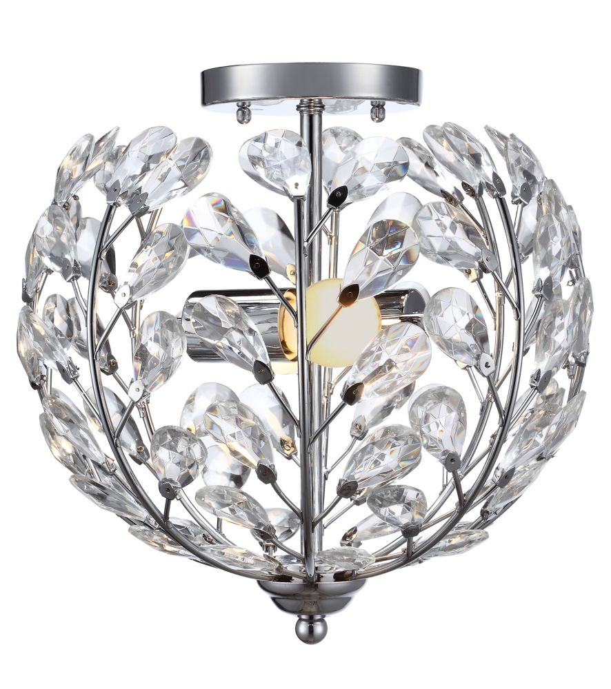 2 Light Flush Mount Ceiling Light 11.5 Inch - Chrome with Crystal Glass Shade