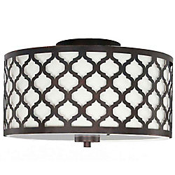 Hampton Bay Edgemoor 13-inch 2-Light Oil-Rubbed Bronze Semi-Flushmount Ceiling Light with White Fabric Shade