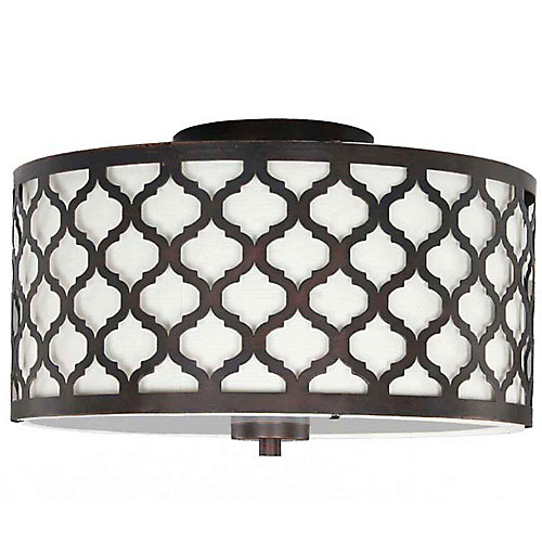 Hampton bay edgemoor 2 light flush mount ceiling light 1325 inch edgemoor 2 light flush mount ceiling light 1325 inch oil rubbed bronze with white fabric shade aloadofball Gallery