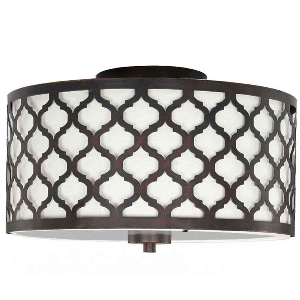 Edgemoor 13-inch 2-Light Oil-Rubbed Bronze Semi-Flushmount Ceiling Light with White Fabric Shade