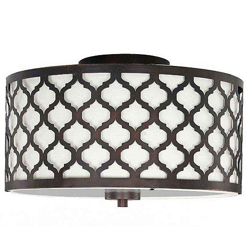 Hampton Bay Edgemoor 13-inch 2-Light Oil-Rubbed Bronze Semi-Flushmount Ceiling Light with White Fabric Shade
