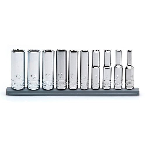 Husky 1/4-inch Drive Deep Metric Socket Set (10-Piece)