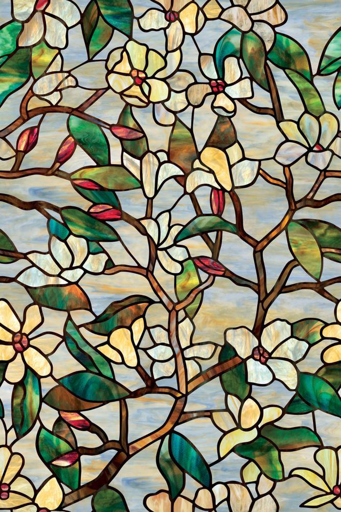 Film décoratif pour fenêtre de 61 cm x 91 cm Magnolia d'été