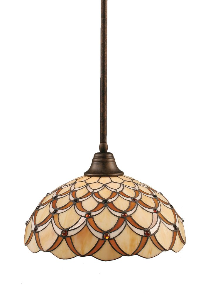 Concord 1-Light Ceiling Bronze Pendant with a Honey and Brown Tiffany Glass