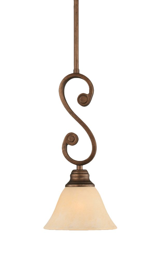 Concord 1-Light Ceiling Bronze Pendant with an Amber Glass