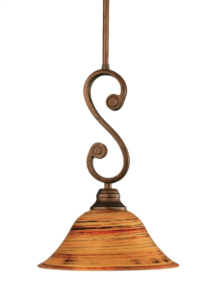 Concord 1 Light Ceiling Bronze Incandescent Pendant with a Firré Saturn Glass