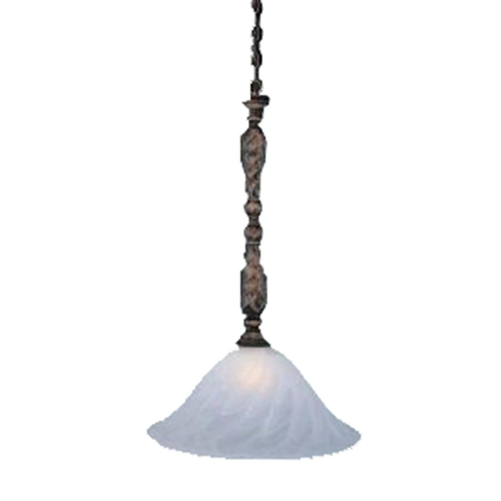 Concord 1-Light Ceiling Bronze Pendant with a Swirl Glass