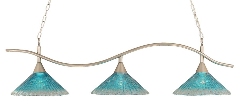 Concord 3-Light Ceiling Brushed Nickel Billiard Bar with a Teal Crystal Glass