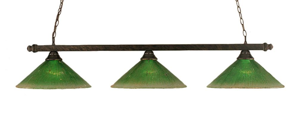 Concord 3-Light Ceiling Bronze Billiard Bar with a Green Crystal Glass