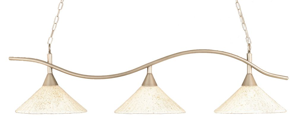 Concord 3-Light Ceiling Brushed Nickel Billiard Bar with a Gold Crystal Glass