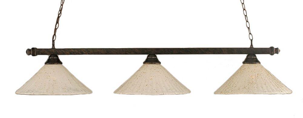 Concord 3 lumières plafond Bronze Incandescent Bar Billard avec un cristal en verre d'or