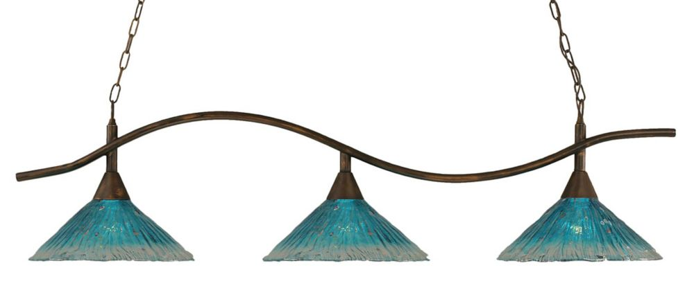 Concord 3 Light Ceiling Bronze Incandescent Billiard Bar with a Teal Crystal Glass