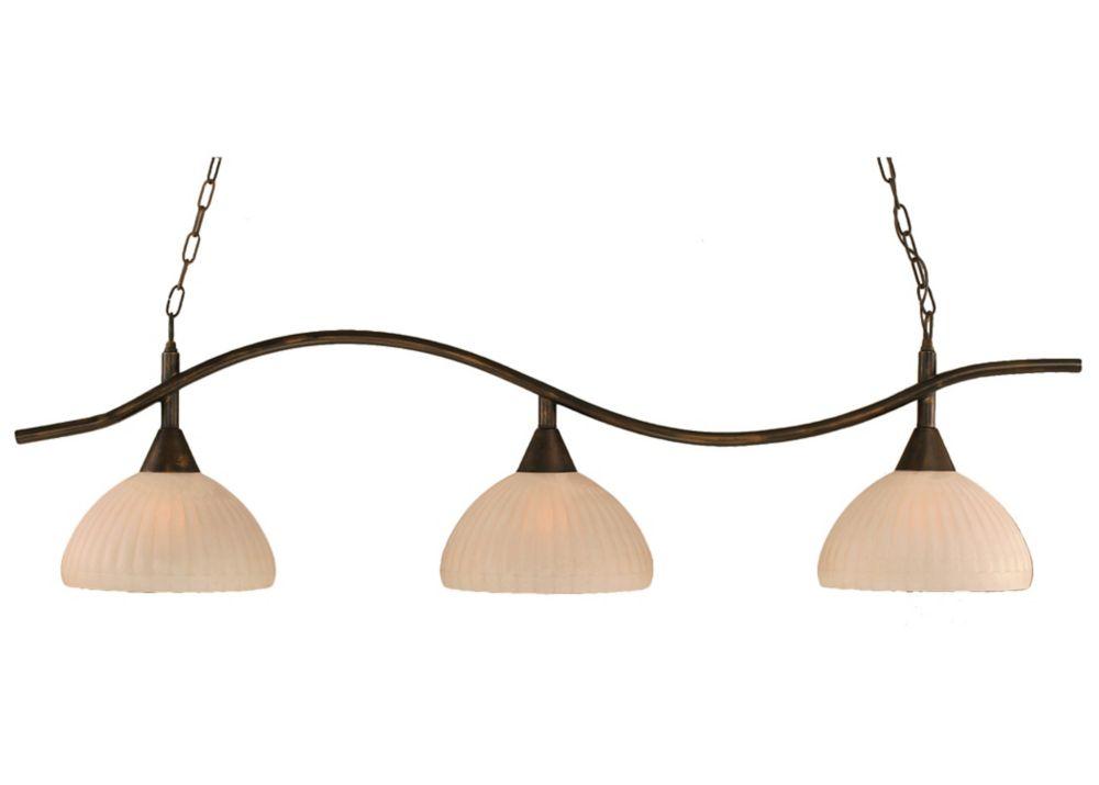 Concord 3 lumières plafond Bronze Incandescent Bar Billard avec une citrouille verre Rosetta
