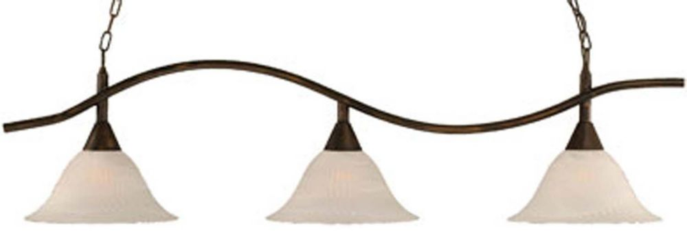 Concord 3-Light Ceiling Bronze Billiard Bar with an Alabaster Glass