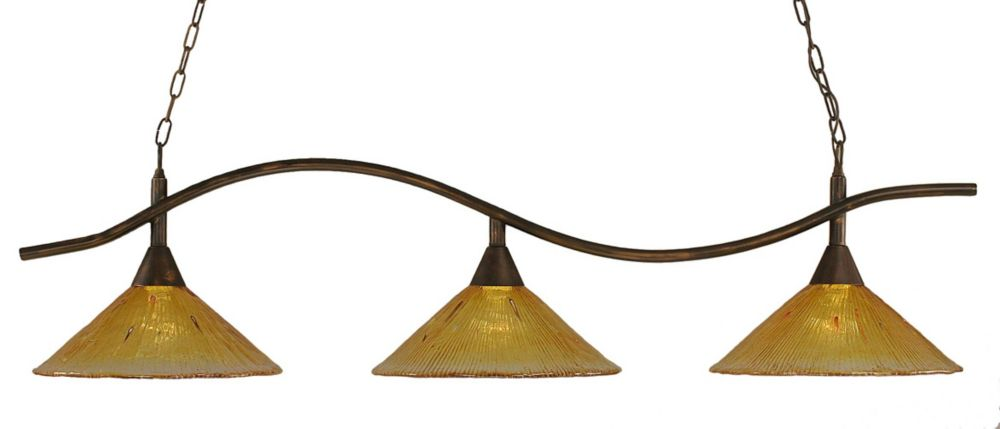 Concord 3 Light Ceiling Bronze Incandescent Billiard Bar with a Gold Champagne Crystal Glass