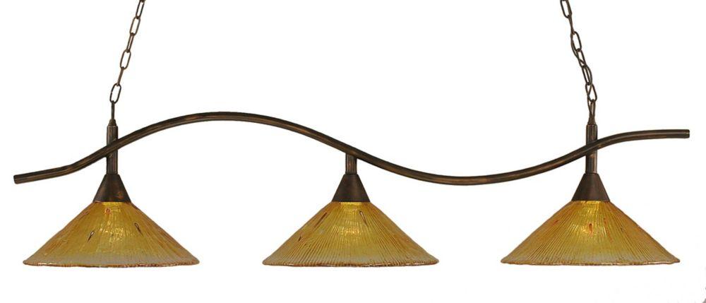 Concord 3 lumières plafond Bronze Incandescent Bar Billard avec de l'or Champagne Cristal