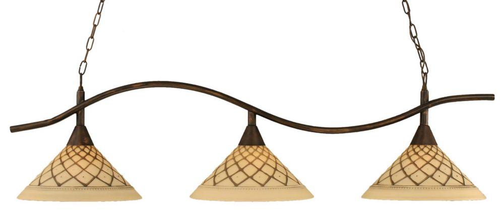 Concord 3 lumières plafond Bronze Incandescent Bar Billard avec un verre de glaçage au chocolat