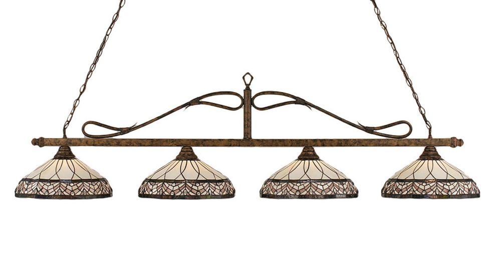 Concord 4-Light Ceiling Bronze Billiard Bar with a Royal Merlot Tiffany Glass