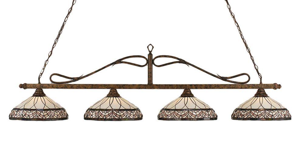 Filament Design Concord 4-Light Ceiling Bronze Billiard Bar with a Royal Merlot Tiffany Glass