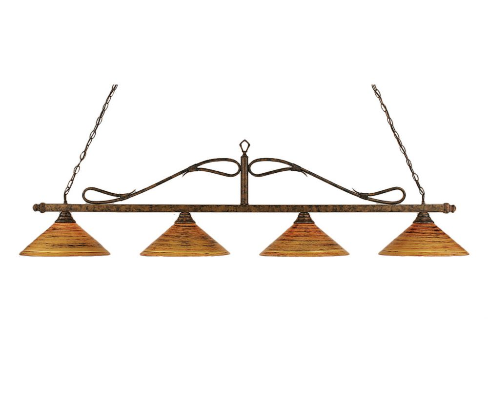 Concord 4 Light Ceiling Bronze Incandescent Billiard Bar with a Firré Saturn Glass