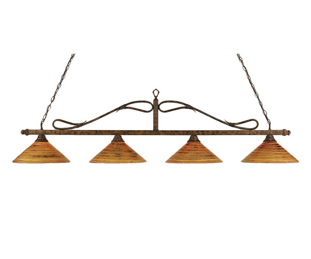 Concord 4 lumières plafond Bronze Incandescent Bar Billard avec un  Saturne verre