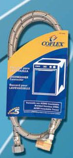 Coflex Stainless Steel Braided 90 Degree Angle Dishwasher Supply Hose 48 Inch x 3/8 Inch Comp x E...