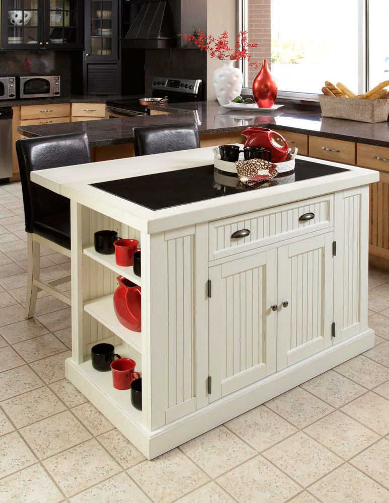 kitchen island with two stools
