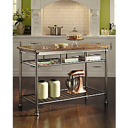 Home Styles The Orleans Vintage Carmel Kitchen Utility Table