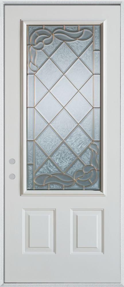 Stanley Doors 37.375 inch x 82.375 inch Queen Anne Zinc 3/4 Lite 2-Panel Prefinished White Right-Hand Inswing Steel Prehung Front Door - ENERGY STAR®