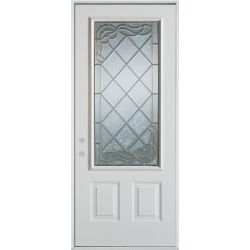 Stanley Doors 37.375 inch x 82.375 inch Queen Anne Zinc 3/4 Lite 2-Panel Prefinished White Right-Hand Inswing Steel Prehung Front Door - ENERGY STAR®