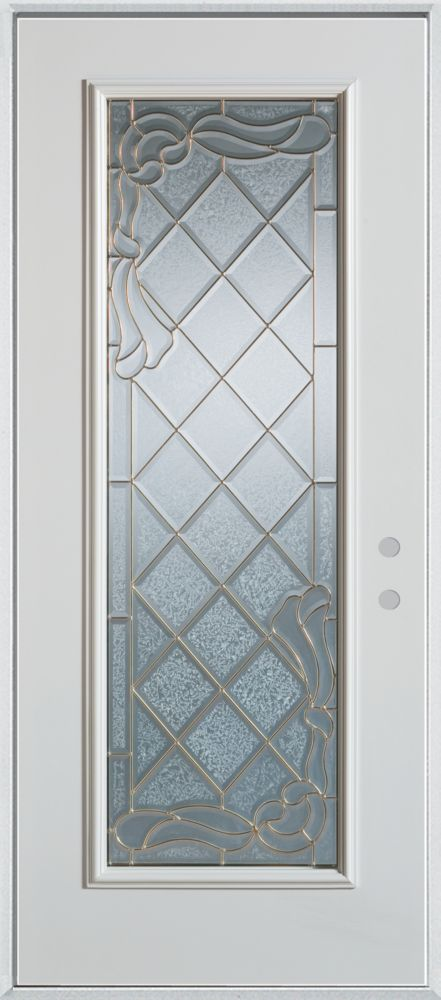 Stanley doors queen anne full lite painted steel entry for Home depot exterior doors canada