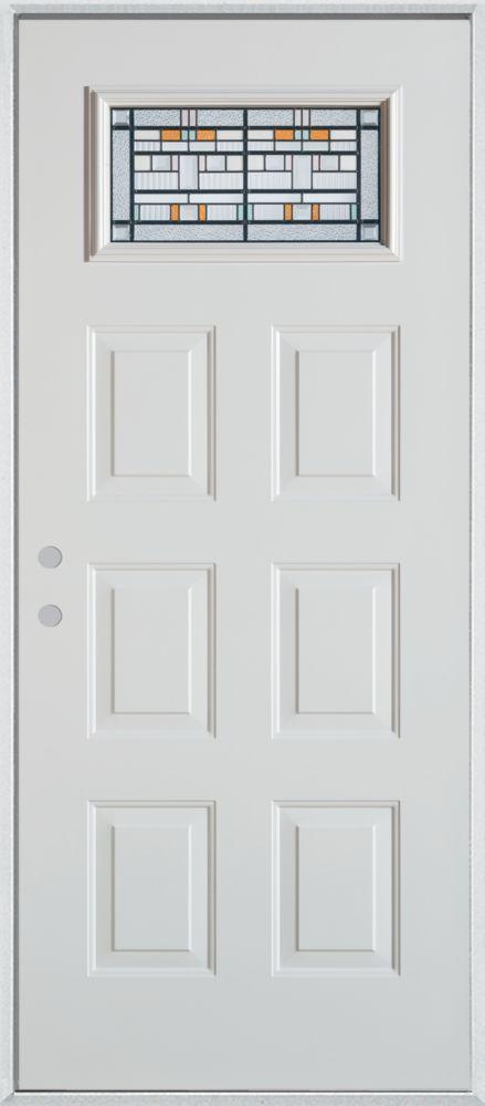36-inch x 80-inch Chicago Rectangular Lite 6-Panel Painted Steel Entry Door