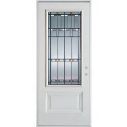 Stanley Doors 37.375 inch x 82.375 inch Chicago Patina 3/4 Lite 1-Panel Prefinished White Left-Hand Inswing Steel Prehung Front Door - ENERGY STAR®