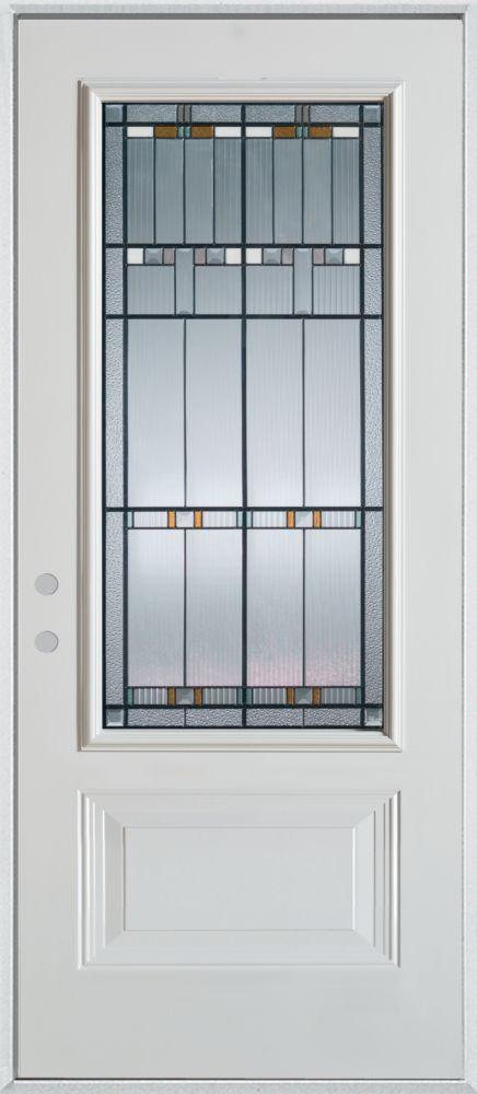 Porte dentrée en acier peint, munie d'un panneau et dun 3/4 verre