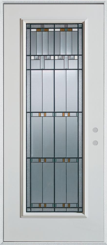 Stanley Doors 37.375 inch x 82.375 inch Chicago Patina Full Lite Prefinished White Left-Hand Inswing Steel Prehung Front Door - ENERGY STAR®