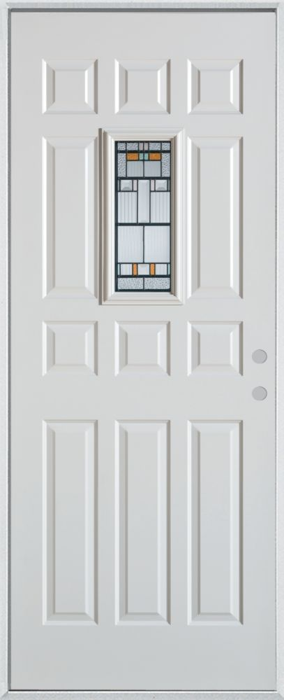 Porte dentrée en acier peint, munie de douze panneaux et dun verre rectangulaire de 9 po x 18 po