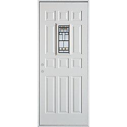 Stanley Doors Porte dentrée en acier peint, munie de douze panneaux et dun verre rectangulaire de 9 po x 18 po - ENERGY STAR®