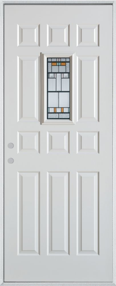 Stanley Doors 37.375 inch x 82.375 inch Chicago Patina Rectangular Lite 12-Panel Prefinished White Right-Hand Inswing Steel Prehung Front Door - ENERGY STAR®