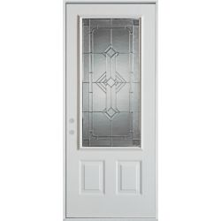 Stanley Doors 37.375 inch x 82.375 inch Neo Deco Zinc 3/4 Lite 2-Panel Prefinished White Right-Hand Inswing Steel Prehung Front Door - ENERGY STAR®