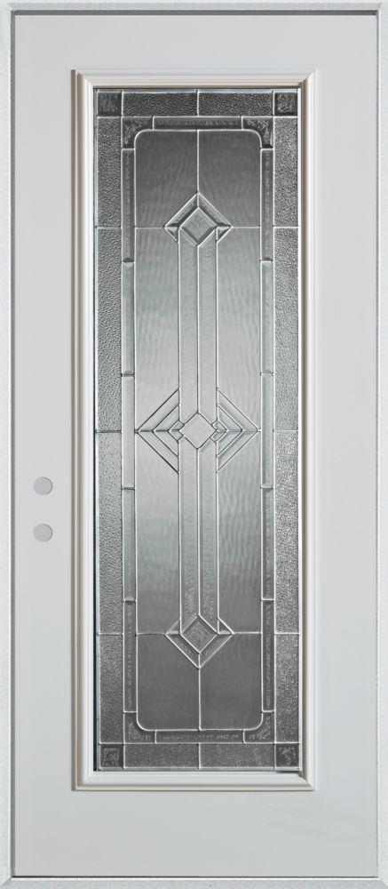 Stanley Doors 37.375 inch x 82.375 inch Neo Deco Zinc Full Lite Prefinished White Right-Hand Inswing Steel Prehung Front Door - ENERGY STAR®