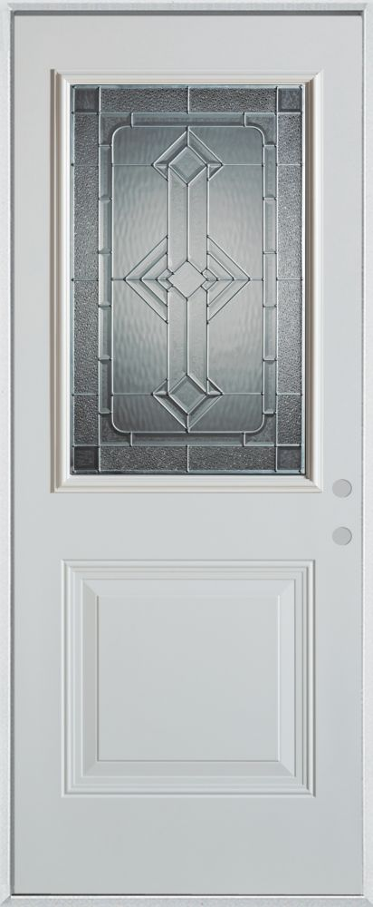 36-inch x 80-inch Neo-Deco 1/2-Lite 1-Panel Painted Steel Entry Door