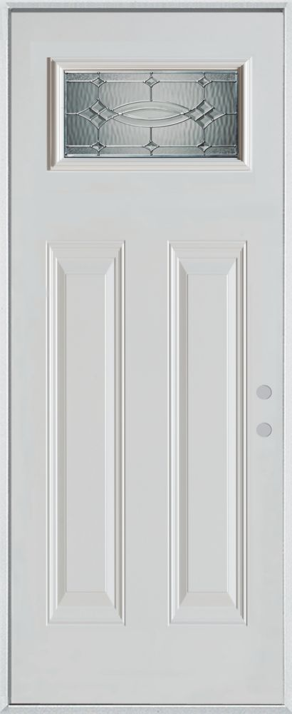 Stanley Doors 37.375 inch x 82.375 inch Diamanti Zinc Rectangular Lite 2-Panel Prefinished White Left-Hand Inswing Steel Prehung Front Door - ENERGY STAR®