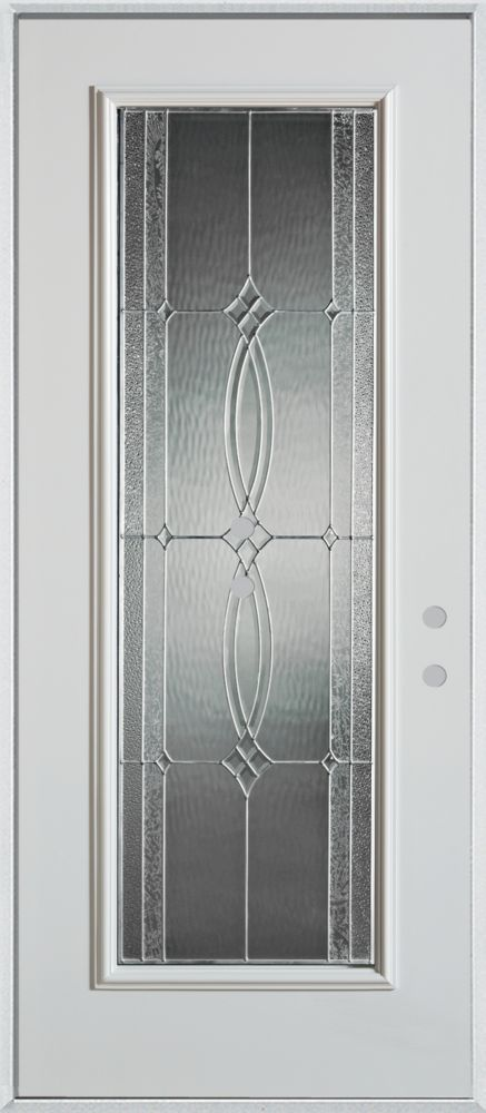 Stanley Doors 37.375 inch x 82.375 inch Diamanti Zinc Full Lite Prefinished White Left-Hand Inswing Steel Prehung Front Door - ENERGY STAR®