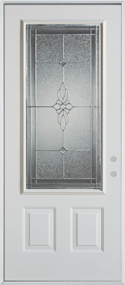 Stanley Doors 37.375 inch x 82.375 inch Victoria Zinc 3/4 Lite 2-Panel Prefinished White Left-Hand Inswing Steel Prehung Front Door - ENERGY STAR®